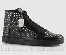 GUCCI Men 10.5G* black leather Studded DOG Tag COMMON High Top sneakers NIB Auth