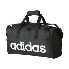 NEW ADIDAS LINEAR BLACK DUFFEL SPORTS BAG SCHOOL GYM SMALL 20 x 25 x 47 cm