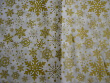 """christmas gold and white snow flake design flannel back table cloth 70"""" x 52"""""""