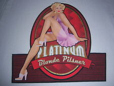 PLATINUM BLONDE PILSNER t shirt--BEER LAGER ALE-sexy PIN UP girl--LOOKS NEW--(S)