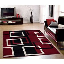 Sweet Home Modern Boxes  Dark Red  Area Rug (8'2 x 9'10 )