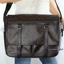 NWT Coach Men's Bleecker Signature Messenger Crossbody Shoulder Bag 70868 Brown