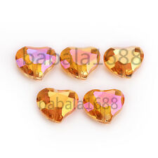 20x16mm Faceted  Charms Heart Crystal Glass Loose Spacer Bead Free Shipping
