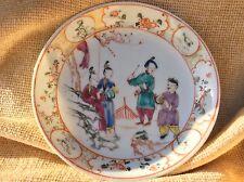 Chinese antique 18th c porcelain saucer qianlong famille rose émaillé musicien