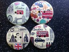 12 Redonda De Madera Londres Vintage 30 Mm Botones Para Art & chatarra Libros