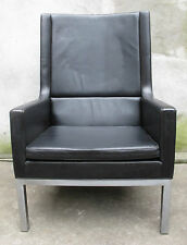 KNOLL STYLE MID CENTURY HIGH BACK LEATHER LOUNGE CHAIR borge mogensen