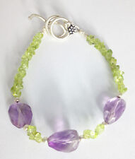 "Sterling Silver Amethyst and Peridot Bracelet, 7 1/2"" with extender"