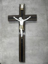 Antique French Porcelain Cross Jesus Bisque Crucifix Religious Wooden wall old
