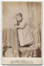 CABINET CARD YOUNG CHILD IN FUZZY COAT AND WINTER BONNET. YOUNGSTOWN, OHIO.