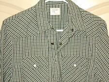 Western Cowboy Shirt Mens SMALL Old Navy Pearl Snap Grn Wh Plaid Long Sleeve 5W4