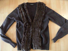 NICE CONNECTION Strickjacke Echtfellrand 100 % Kaschmir braun Gr. 40? TOP  BI216
