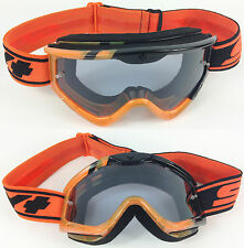 Spy Optics Targa 3 Motocross Mx Goggles Black Orange Domingo con humo tinte de lente