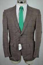 (42R) NEW Caruso $1495 Men's Brown Check Wool Italian MOD FIT Blazer Sport Coat