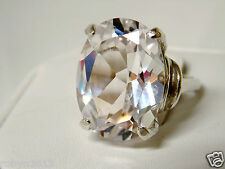 large 23ct white sapphire 925 sterling silver ring size 7 USA made
