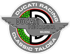 """#k101 4"""" Ducati Meccanica Racing Classic Vintage Decal Sticker LAMINATED Silver"""