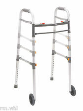 """Light 2 Button Folding Wheeled Walker with 5"""" Rolling Wheels Drive Medical Drive"""