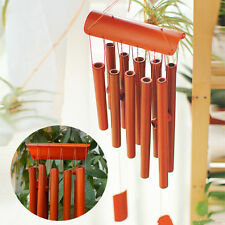 10 Tubes Rectangular Wind Chime Bamboo Red Wood Garden Ornament Drop Lucky 27.6""