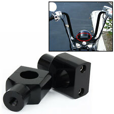 "Universal 1"" Handlebar Riser Clamp BLACK For Harley Custom Springer Bobber BAR"