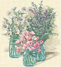 Cross Stitch Kit ~ Dimensions Wildflower Trio Flowers Bouquets Vases #35122