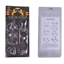 7 PCS IQ Test Toys Mind Game Brain Teaser Metal Wire Puzzles Magic Trick Gifts