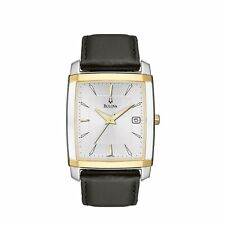 BULOVA DRESS DATE SILVER DIAL TWO-TONE CASE BLACK LEATHER MEN'S WATCH 98B135 NEW
