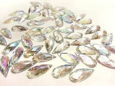 50 22*8mm SEW ON Faceted AB Clear Teardrop ACRYL DIAMANTE Rhinestone Crystal Gem