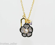 NWT Juicy Couture Fashion Gold  Big Pave Flower Crystal Pedant Cluster Necklace