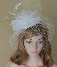 New Church Derby Cocktail Wedding Fascinator Hat  w Headband w Veil White TS0267