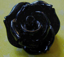 BLACK ROSE BROOCH PIN GOTHIC RESIN 22MM B