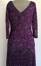 Pisarro Nights Beaded/Mesh Long Gown 8 Purple Underlay Cruise Wear Formal