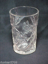 "CUT GLASS SHORT VASE OR GLASS  - FLOWER DESIGNS - 3"" ACROSS BY 4 3/8"" HIGH"
