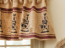 New ANIMAL STACK BURLAP VALANCE Curtain Chicken Cow Sheep Pig Country Farmhouse