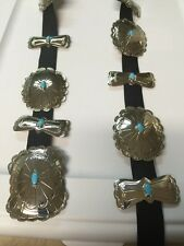 Navajo Nickel Silver Turquoise Large Concho Belt 14 Pieces Stunning Look # 1
