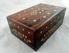 Hand carved Wooden Box - INLAY WORK - for Jewellery , Trinkets, Crystals
