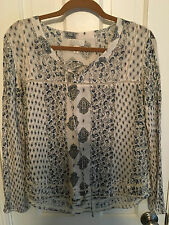 Billabong Sparks Flyin L/S Peasant Top, Blue Paisley Pattern Size Small
