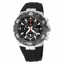 SEIKO CHRONOGRAPH ALARM DATE ST.STEEL & BLACK RESIN BAND MEN'S WATCH SNAD61