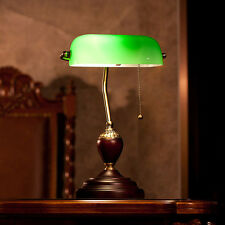 Vintage Style Bedside Table Lamp Glass Shade Desk Reading Room Office LED Lights