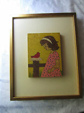 Vintage Painting Child Little Girl Red Bird nest fence 20th c. Charming Unique