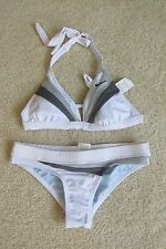 Women's Nike Swimwear 2 Piece Halter/Bikini Swim Suit White & Gray Size Small