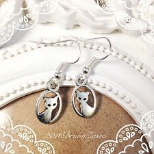 Orecchini Gatto Gattino Kitten Earrings Argento Cute Vintage Hipster Regalo Tiny