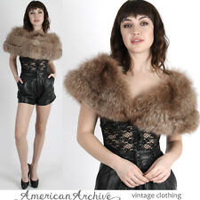 Vintage 60s Arctic Fox Fur Stole Cape Brown Collar Draped Wrap Scarf Coat Jacket