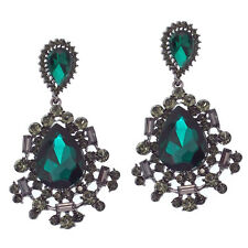 Floral Dangle Drop Long Earring Jewelry Emerald Green Black Crystal Design 2.7""