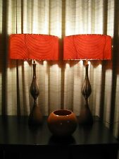 Pair of Mid Century Vintage Style Fiberglass Lamp Shades Modern RED RETRO