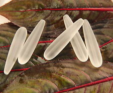 Long Teardrop Sea Glass Frosted Beads ~ 38 x9 mm. ~ 5 Pieces ~ CRYSTAL WHITE