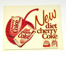 Coca Cola 18 x 14 cm Aufkleber USA 86' Sticker Decal - New Diet Cherry Coke