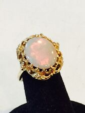 Gorgeous Vintage 14K Yellow Gold Opal Ring with Beautiful Mounting    Size 6
