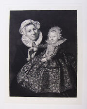 "WOW 1800s FRANS HALS Antique Etching ""Catharina Hooft With Her Wet Nurse"" COA"