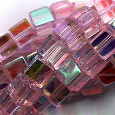 GLASS CUBE BEADS PINK AB COLORS 6MM SQUARES 6MM STRANDS