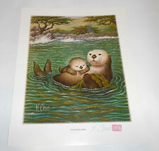 Hand Signed Color Lithograph Print The Friendly Otters K Chin