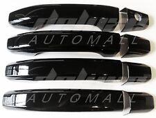 BLACK Door Handle Covers 4 Dr Set FOR 2014 2015 2016 Chevy Silverado GMC Sierra